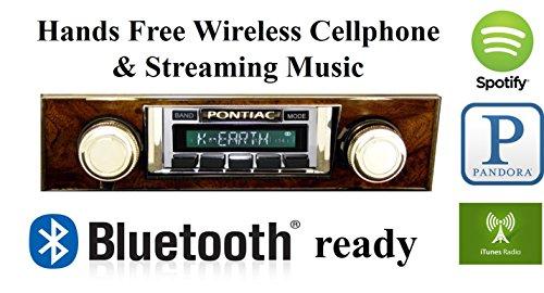 Bluetooth Enabled Stereo for 1968 Pontiac Firebird Burlwood Trim USA-630 II High Power 300 watt AM FM Car Stereo / Radio USB, Aux, iPod (68 Pin Drive Tray)