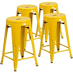 Flash Furniture 4 Pk. 24'' High Backless Yellow Metal Indoor-Outdoor Counter Height Stool with Round Seat