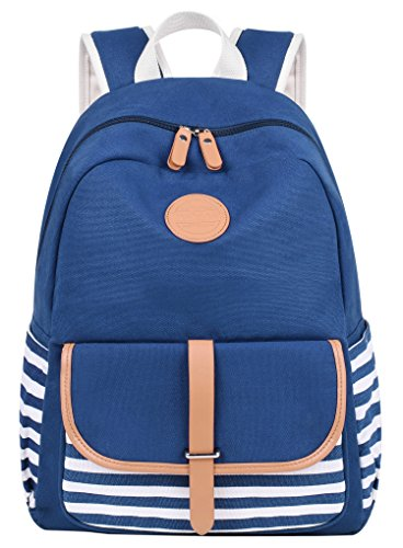 ArcEnCiel Lightweight Canvas Backpack for Girls School Rucksack Bookbags, Blue