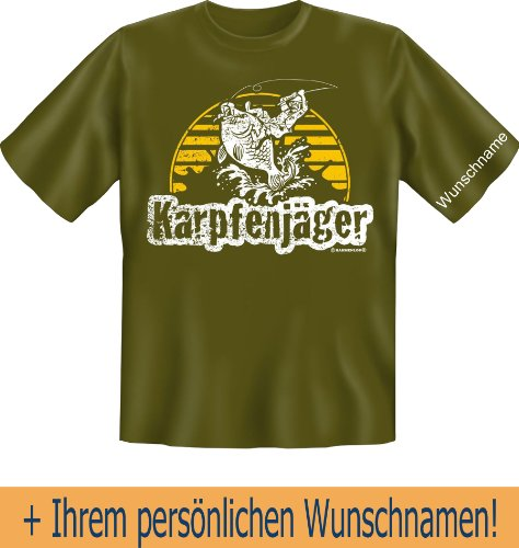 T-Shirt mit Wunschname - Karpfenjäger - Lustiges Sprüche Shirt als Geschenk für Angler mit Humor - NEU mit persönlichem Namen