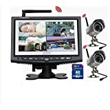 Sistema Completo Videosorveglianza Wireless 2 Telecamere con Infrarossi + Monitor LCD con DVR On Board 32 GB