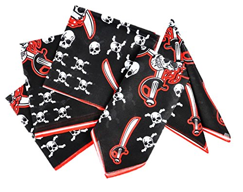 Play Kreative Pirate Skull and crossbones Bandana - 12 Pack Pirate Party Bandanas Polyester 19