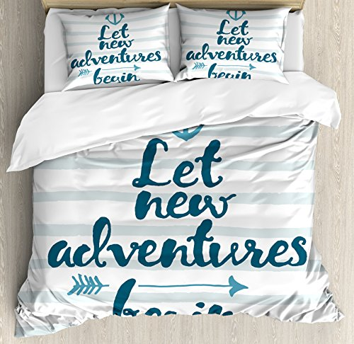 Ambesonne Adventure Duvet Cover Set Queen Size, Nautical Stripes Anchor and Arrow Motivational Text Sea Travel Cruise, Decorative 3 Piece Bedding Set with 2 Pillow Shams, Petrol Blue White