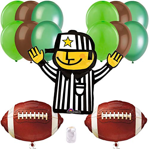 - Football Frenzy Super Bowl Party Bouquet 14pc Balloon Pack, Green Brown