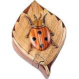 Ladybug Handmade Carved Wood Intarsia Puzzle Box