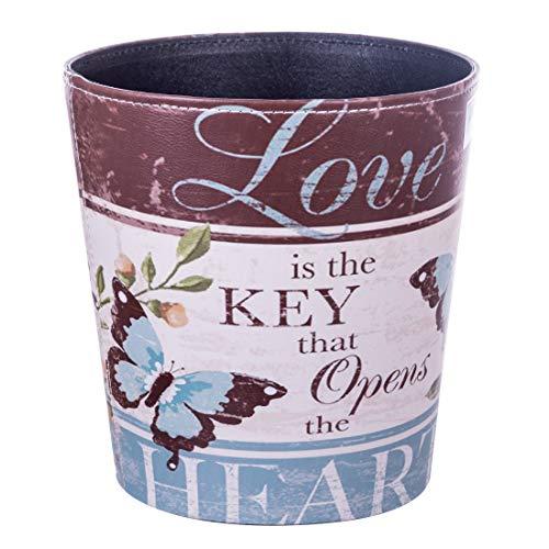 (HMANE 10L/2.64 Gallon PU Leather Trash Can Decorative Waterproof Wastebasket Paper Basket Garbage Bin Bathroom Butterfly Pattern for Home Office )