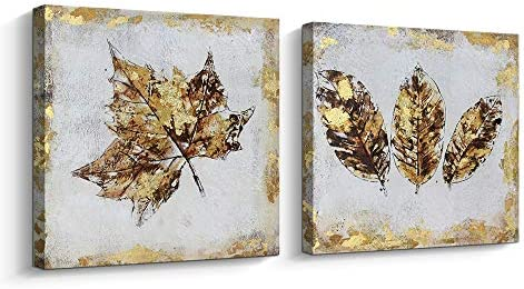 Pinetree Art Gold Leaf Canvas Wall Art Set for Livingroom- Hand Painted Fallen Leaves Art Painting Gallery Wrapped Home Decoration Gold, 12 x 12 x 2pcs