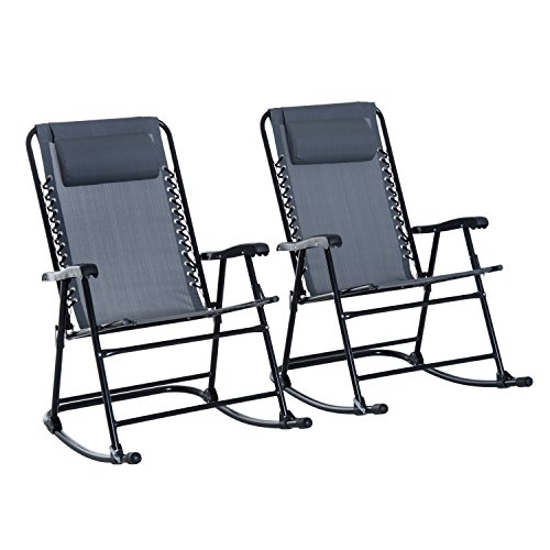 Outsunny Mesh Outdoor Patio Folding Rocking Chair Set - Grey