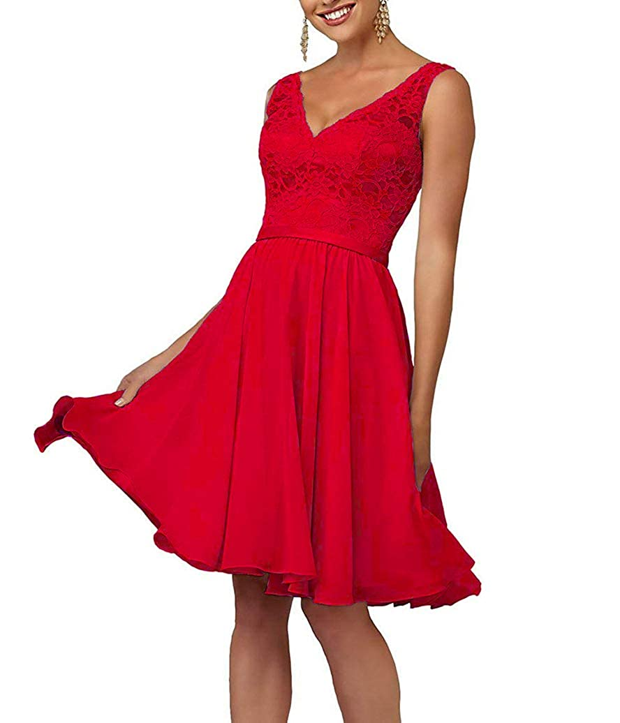Red Short VNeck Homecoming Dresses for Women Juniors Party Prom Gown Lace Bodice