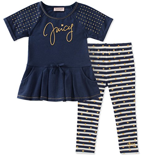 Juicy Couture Baby Girls 2 Pieces Tunic Set, Navy/Gold Dot, 24M by Juicy Couture