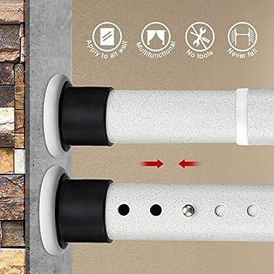 KINLO 110-160cm barra de cortina de ducha poste telescópico barras de sujeción de acero inoxidable barra de cortina sin perforación barra de tensión de patrón beige poste de metal extensible: Amazon.es: Bricolaje