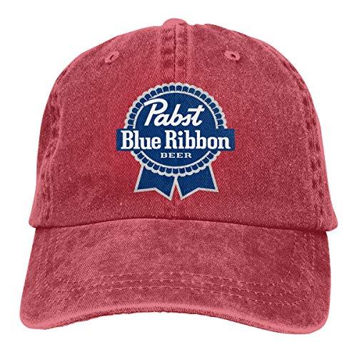 Pabst Blue Ribbon Classic Logo Baseball Caps Adjustable Hat Denim Fabric -