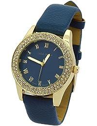 Ladies Gold Tone Blue Deep Leather Band Fashion Casual Quartz Wrist Watch Watches Mark Naimer