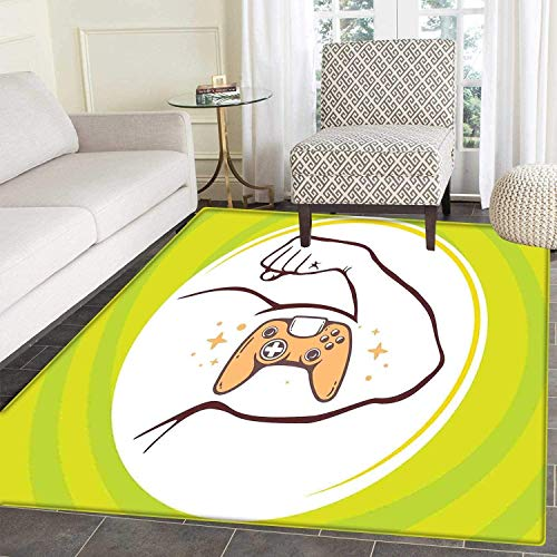 Armen Art Sonata - Gamer Area Rug Carpet Entertainment Illustration of Strong Man Arm with Icon of Joystick Manly Line Art Living Dining Room Bedroom Hallway Office Carpet Multicolor