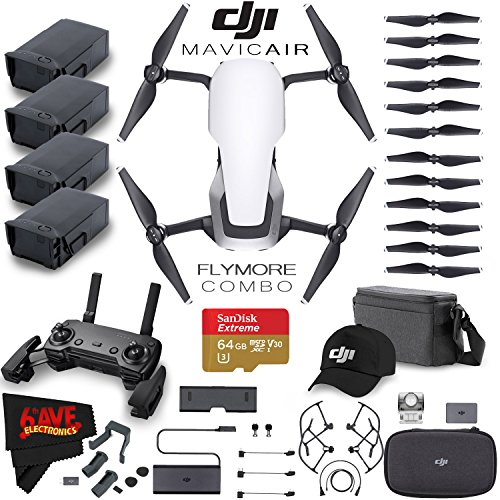 DJI Mavic Air Fly More Combo (Arctic White) + Extra DJI Intelligent Flight Battery for Mavic Air + Landing Gear Leg Extensions + SanDisk Extreme 64GB Class 10 U3 microSDXC Memory Card Accessory Bundle by 6Ave