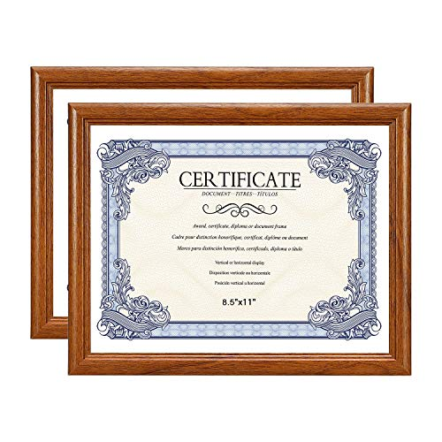 Amistad 8.5X11 Brown Certificate Picture Frame, Document/Diploma Frame with Classic Simple Style, Natural Wood Grain, 2 Pack ()
