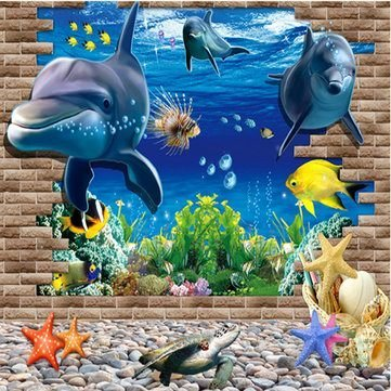 3D Blue Sea World Dolphin Removable Wall Sticker Wallpaper Home Decor by Completestore from Completestore