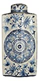 14'' Blue and White Porcelain Floral Long Flat Covered Jar Vase