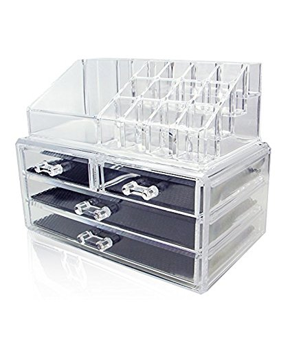 Acrylic Oranganizer Jewelry Cosmetic Storage Display Boxes 2 Pieces Set (Onesize, Clear)