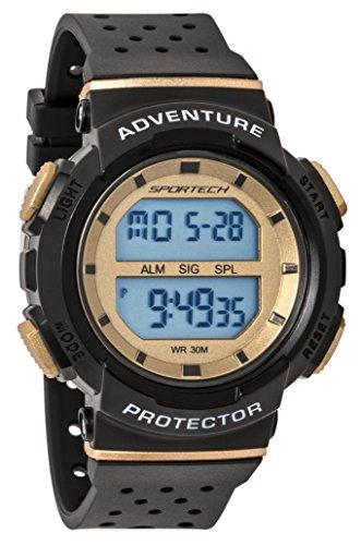 SPORTECH Unisex | Black & Gold Digital Water-Resistant Sports Watch | SP12705 by Sportech