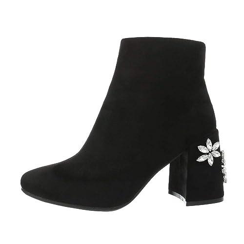 Ital-Design Zapatos para Mujer Botas Mini Tacón Botines Clásicos
