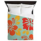 CafePress - Teal-Orange-Red-Yellow Hawaiian Hibiscus Queen Duv - Queen Duvet Cover, Printed Comforter Cover, Unique Bedding, Microfiber