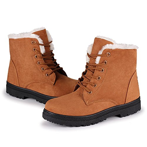 Marck Sch Warm Sneaker Shoes Plus Velvet Winter Womens Lace Up Cotton Snow Boots Khaki9 B M  Us