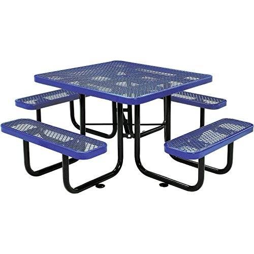 """46"""" Expanded Metal Square Picnic Table, Blue"""