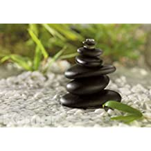 "Wall Mural, Photo Wallpaper Gallery FENG SHUI 6'x4'1"" stacked black stones Pebbles Pebbles"