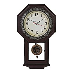 Giftgarden Housewarming Vintage Wall Clock Imitation Wood Color for Living Room Decor