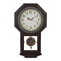 Giftgarden Housewarming Vintage Wall Clock Imitation Wood Color for Living Room Decor