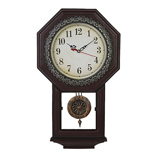 Giftgarden Housewarming Vintage Wall Clock Imitation Wood Color for Bedroom Decor