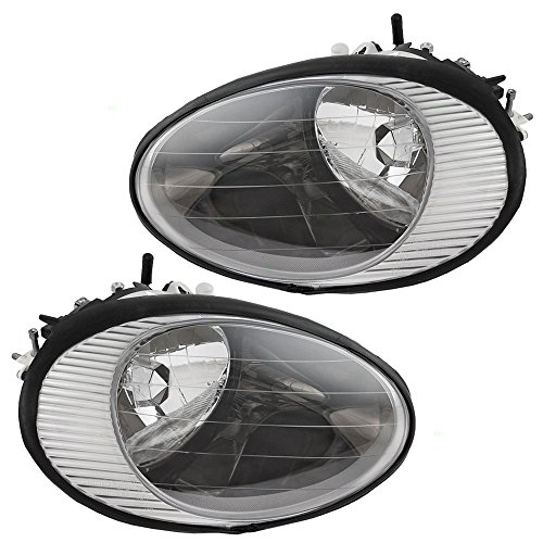 Driver and Passenger Headlights Headlamps with Chrome Reflector Replacement for Ford F6DZ 13008 B F6DZ 13008 A AutoAndArt