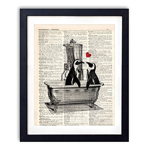 akeke Vintage Dictionary Art Print Romantic Penguin Decorations Bathroom Decor Poster Penguin Gifts for Women Wall Art 8x10 inch Unframed