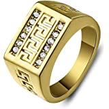 Vintage Stainless Steel Mens the Great Wall Ring Brand Gold Punk Rings Jewelry LOVE STORY (9)