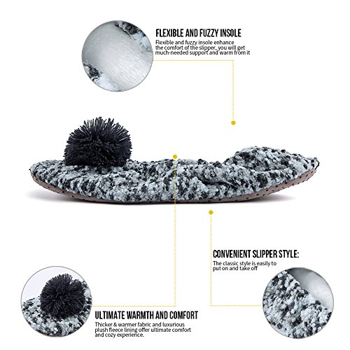 MaaMgic Womens Fuzzy Christmas House Slippers Ladies Cute Bedroom Indoor Knit Winter Slippers Grey fauGipspZn