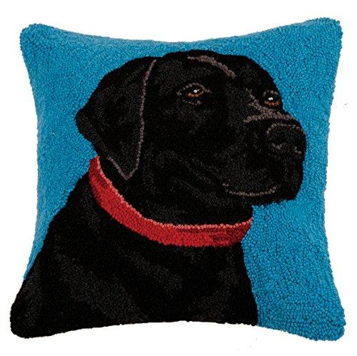 Peking Handicraft Black Lab Hook Pillow, 16x16