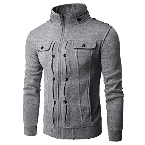 Cnlinkco Men's Stylish Stand Collar Long Sleeve Solid Jacket Warm Coat with Pocket Outwear (XXL, Dark Grey) from CNlinkco