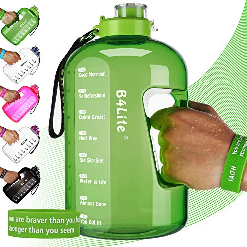 B4Life 1 Gallon Water Bottle with Time Marker, Motivational Wristband, Fitness Workout, Drink More Water Daily, Extra Large BPA-Free Water Bottle Leakproof with Flip Top-Faith