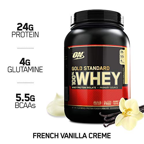 OPTIMUM NUTRITION GOLD STANDARD 100% Whey Protein Powder, French Vanilla Creme, 2 Pound (Best Milk To Use With Whey Protein)