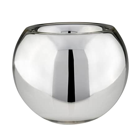 Silver Glass Vase Planter Ball Mh D 18 Cm Amazon Kitchen