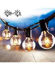 Osaloe Guirnaldas Luminosas de Exterior y Interiores, Cadena de Luces de 9.5 M/31FT con 25+3 Bombillas, Cadena de Luz G40 Impermeable para Jardín, Fiesta, Bodas, Terraza, Césped, Balcón, Navidad