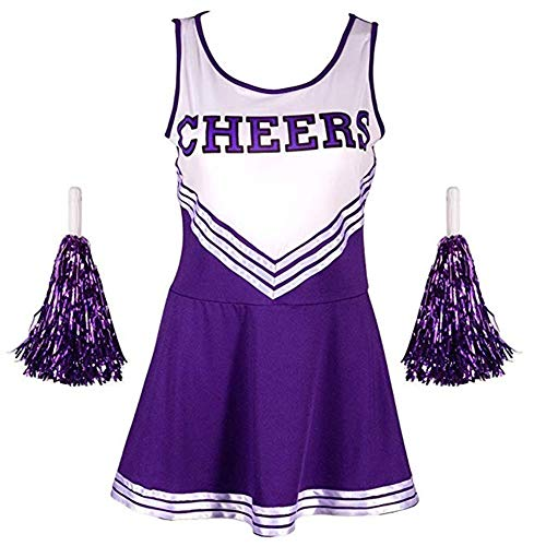 My Sky Women's School Girls Musical Party Cheer Leader Costume Fancy Dress Uniformwith Two Pompoms Purple