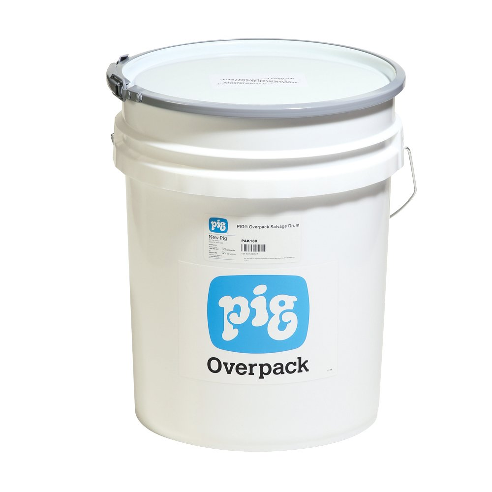 New Pig PAK180 HDPE Overpack Salvage Drum, 5 Gallon Storage Capacity, 10-1/4'' Diameter x 14'' Height, White