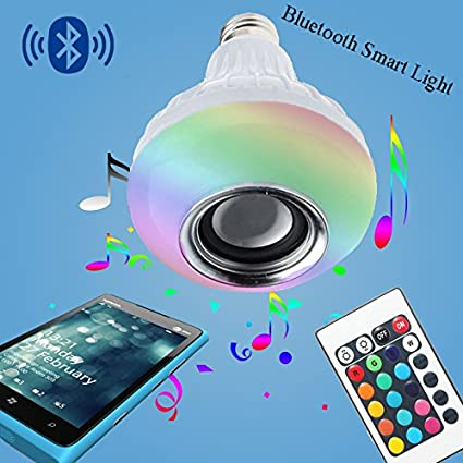 LED APP and IR Remote Control Bulb Music Bluetooth 3 0 Speaker Wireless  Smart LED Night Light Bulb - Smartphone Controlled Dimmable Multicolored  Color