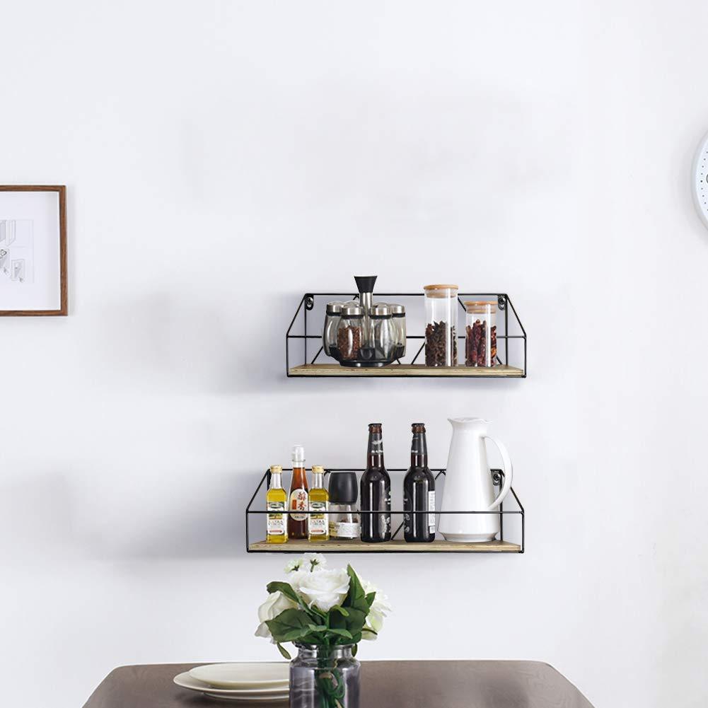 Mensole Pensili in Legno stile Rustico per Bagno by Cucina Salotto Set da 2 Umi