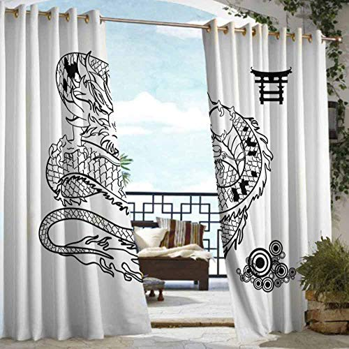 DILITECK Outdoor Curtain Japanese Dragon Tattoo Art Style Mythological Dragon Figure Monochrome Reptile Design for Patio/Front Porch W72 xL96 Black White ()
