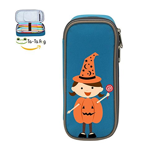 Halloween Pumpkin Girl Pen Bag Canvas Pencil Case Big Capacity Pen Bag Makeup Pouch Durable Students Stationery With Double (Simple Halloween Makeup Tumblr)