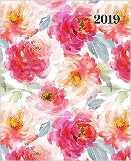 Agenda 2019 Semainier: 19x23cm : Agenda 2019 semainier : fleurs orange et rouges sur blanc 6040