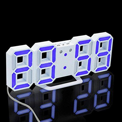 (Fabal Digital LED Clock, Original Modern Wall Clock Digital LED Table Clock Watches 24 or 12-Hour Display Clock Mechanism Alarm Snooze Desk Alarm Clock (Purple, White Frame))